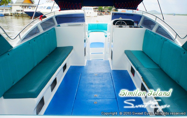 Twin Engine Speedboat inside