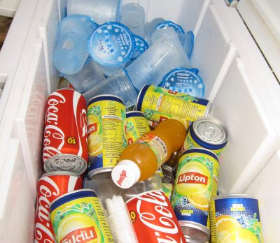 soft drinks in ice box