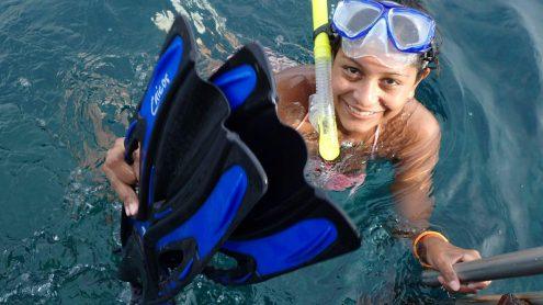 Adriana snorkeling
