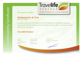 Similancharter Travelife Partner Certificate
