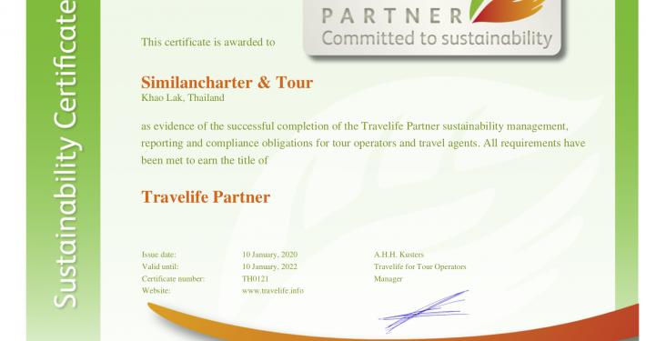 Similancharter Travelife Partner Certificate